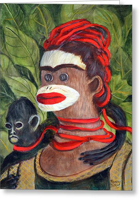 Frida Kahlo As A Sock Monkey Greeting Card by Randol Burns