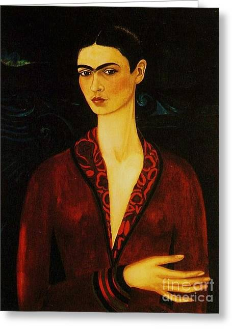 Artist Greeting Cards - Frida Kahlo Self Portrait Greeting Card by Pg Reproductions