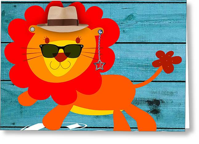 Child Greeting Cards - Friendly Lion Collection Greeting Card by Marvin Blaine