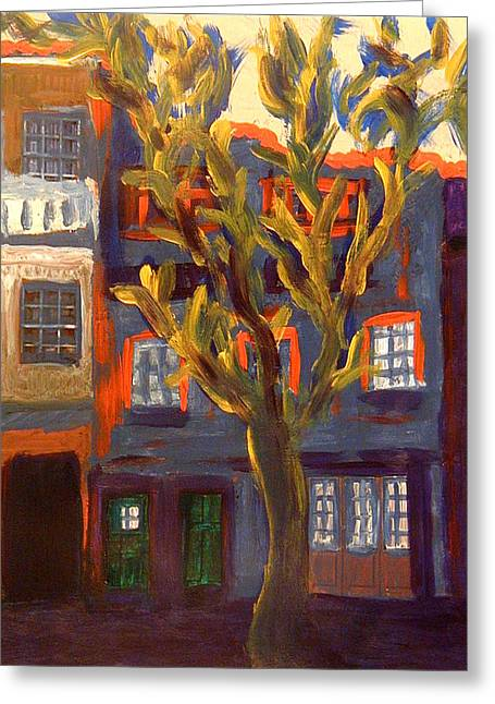 Prague Paintings Greeting Cards - Friendly Tree  Greeting Card by Oscar Penalber