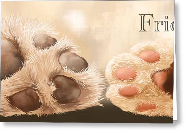 Dog Paw Print Greeting Cards - Friends Greeting Card by Veronica Minozzi