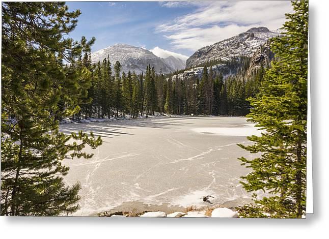 Colorado Landmarks Greeting Cards - Frozen Nymph Lake - Rocky Mountain National Park Estes Park Colorado Greeting Card by Brian Harig