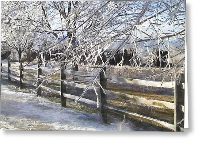 Fence Row Greeting Cards - Frozen Greeting Card by Kathy Jennings