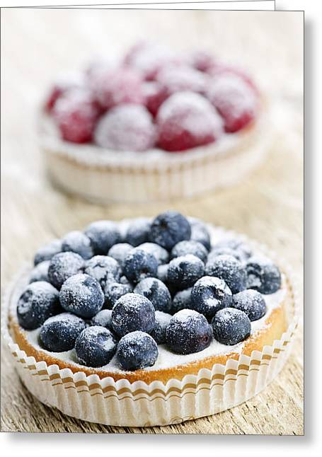 Delicacy Greeting Cards - Fruit tarts Greeting Card by Elena Elisseeva