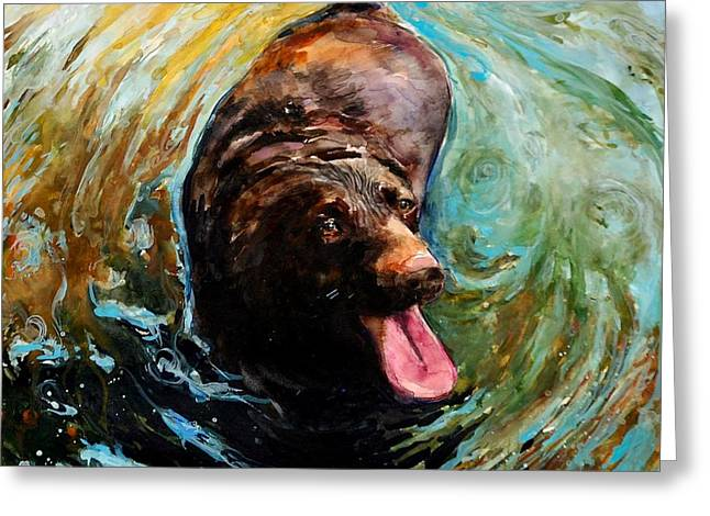 Chocolate Lab Greeting Cards - Fudge Ripple Greeting Card by Molly Poole