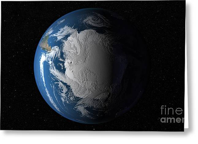 Planet Map Greeting Cards - Ful Earth Showing Simulated Clouds Greeting Card by Stocktrek Images