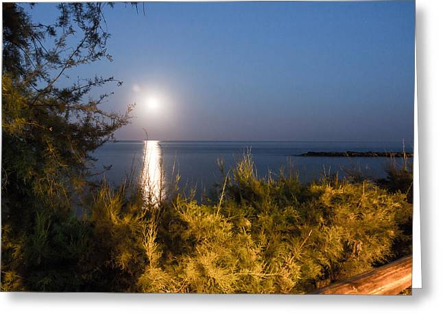 Sea Moon Full Moon Greeting Cards - Full Moon Greeting Card by Salvatore Pappalardo