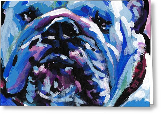 English Bulldog Portrait Greeting Cards - Full of Bull Greeting Card by Lea