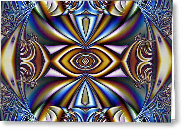 Manley Greeting Cards - Funky Fractal Kaleidoscope Greeting Card by Gina Lee Manley