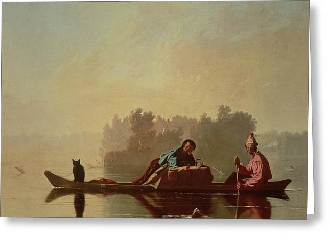Descend Greeting Cards - Fur Traders Descending the Missouri Greeting Card by George Caleb Bingham