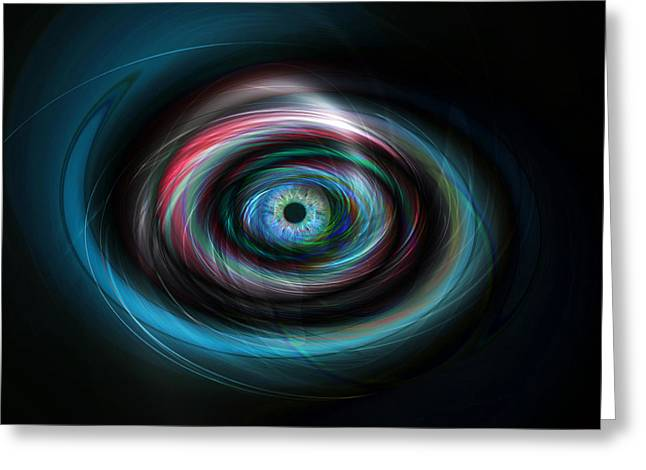 Future Tech Digital Greeting Cards - Futuristic light eye Greeting Card by Steve Ball