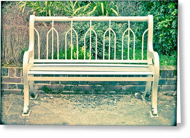 Walk Alone Greeting Cards - Garden bench Greeting Card by Tom Gowanlock