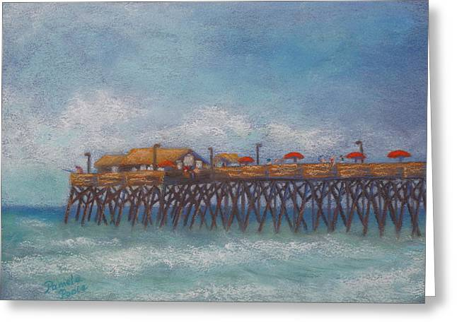 Atlantic Beaches Pastels Greeting Cards - Garden City Beach Pier Greeting Card by Pamela Poole