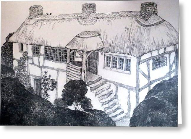 White Frame House Drawings Greeting Cards - Garden Cottage Greeting Card by Diane Fine