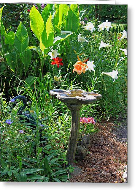 Birdbath Greeting Cards - Garden Magic Greeting Card by Suzanne Gaff