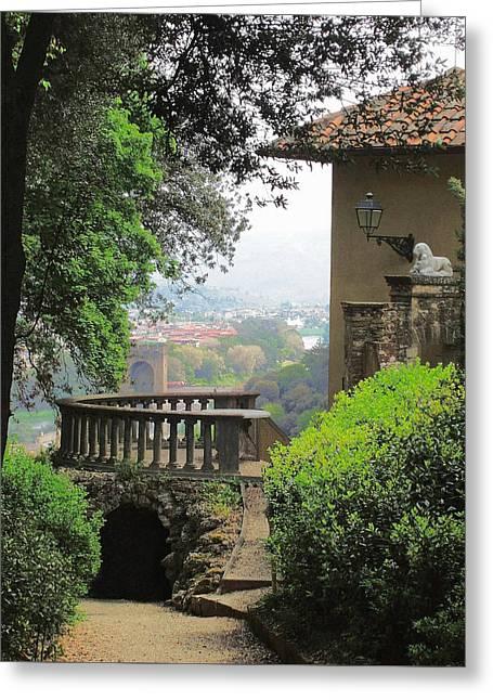 Garden Photographs Greeting Cards - Garden View Greeting Card by Ellen Henneke