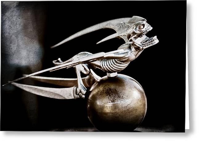 Gargoyles Greeting Cards - Gargoyle Hood Ornament Greeting Card by Jill Reger