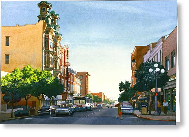 Southern Scene Greeting Cards - Gaslamp Quarter San Diego Greeting Card by Mary Helmreich