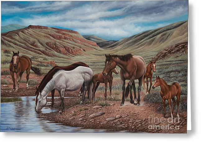 Quarter Horses Paintings Greeting Cards - Gathering At Diablo Canyon Greeting Card by Ricardo Chavez-Mendez