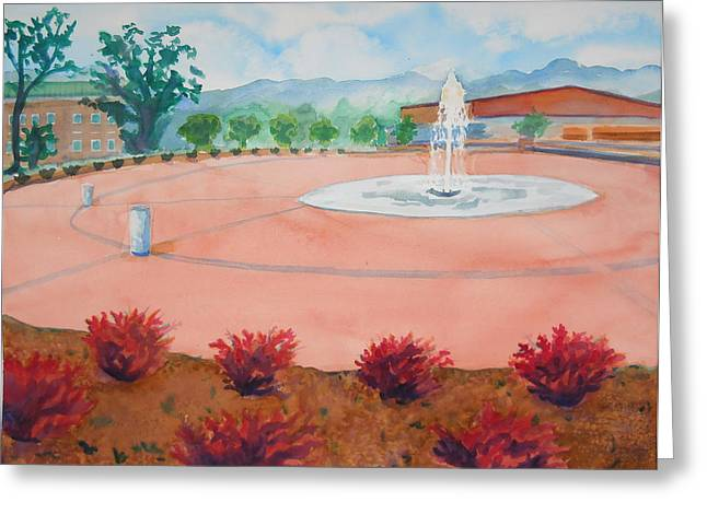 Western Carolina University Greeting Cards - Gazing Upon the New Fountain Greeting Card by Sheena Kohlmeyer