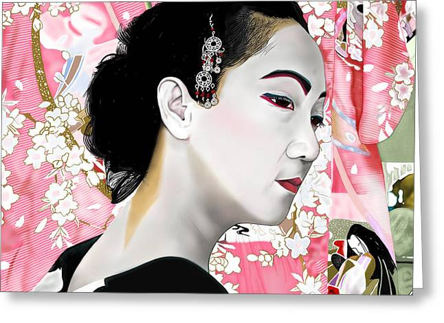 Andrew Harrison Greeting Cards - Geisha Greeting Card by Andrew Harrison