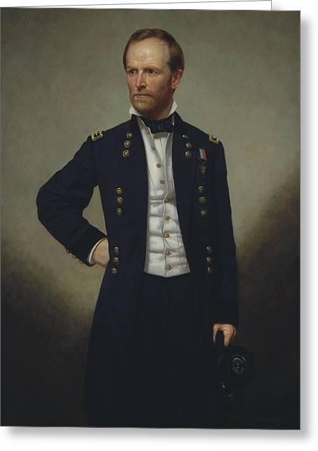 Sherman Greeting Cards - General William Tecumseh Sherman Greeting Card by War Is Hell Store