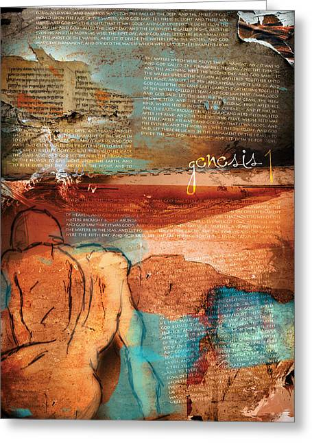 Prophet Moses Greeting Cards - Genesis 1 Greeting Card by Switchvues Design