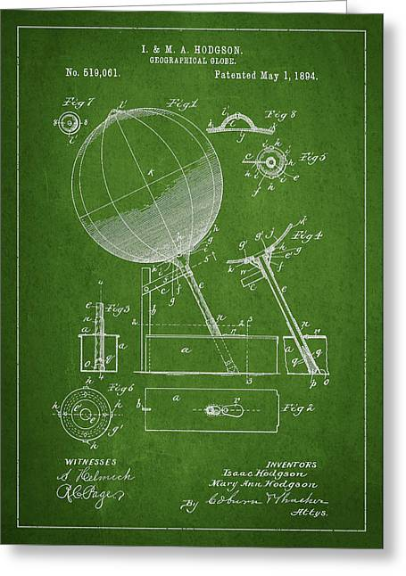 Continent Digital Greeting Cards - Geographical Globe Patent Drawing From 1894 Greeting Card by Aged Pixel