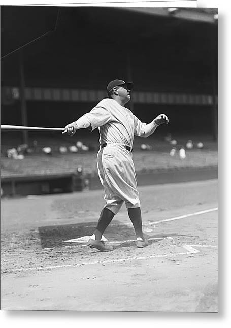 Hall Of Fame Greeting Cards - George H. Babe Ruth Greeting Card by Retro Images Archive