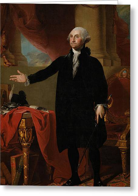 Full-length Portrait Greeting Cards - George Washington Greeting Card by Gilbert Stuart
