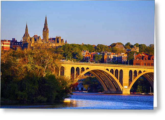 Duke Greeting Cards - Georgetown Greeting Card by Mitch Cat
