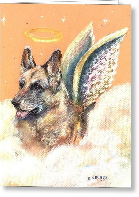 Heavens Pastels Greeting Cards - German Shepherd Angel Greeting Card by Darlene Grubbs