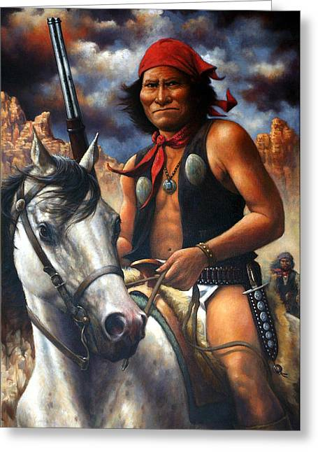 Indian Warriors Greeting Cards - Geronimo Greeting Card by Harvie Brown