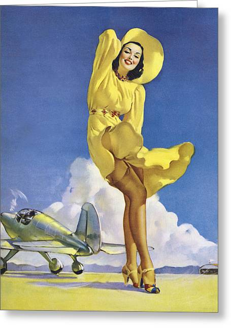 Full Skirt Greeting Cards - Gil Elvgrens Pin-Up Girl Greeting Card by Gil Elvgren