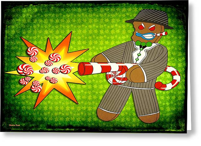Tommy Gun Greeting Cards - Gingerbread Gangster Greeting Card by Shawna  Rowe