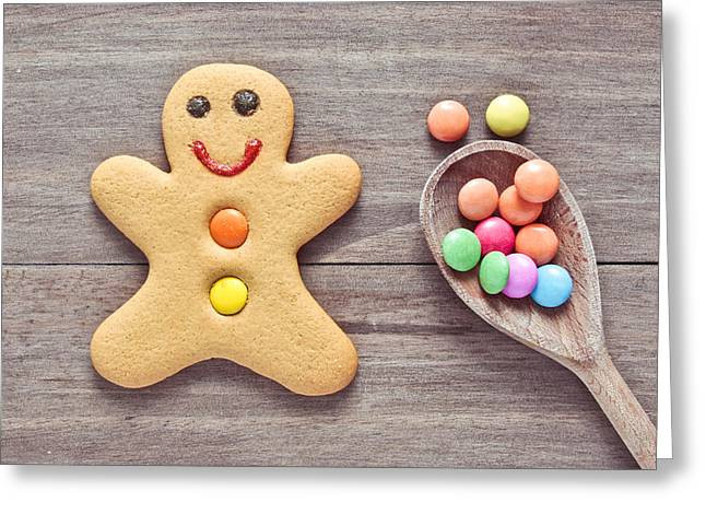 Cheap Greeting Cards - Gingerbread man Greeting Card by Tom Gowanlock