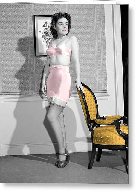 Girdle Greeting Cards - Girdle Girl Greeting Card by Andrew Fare