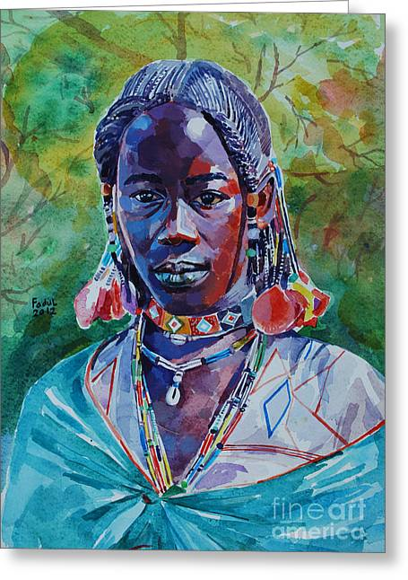 Mohamed Fadul Greeting Cards - Girl from western Sudan Greeting Card by Mohamed Fadul