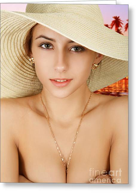 Satisfaction Greeting Cards - Girl In Straw Hat Greeting Card by Aleksey Tugolukov