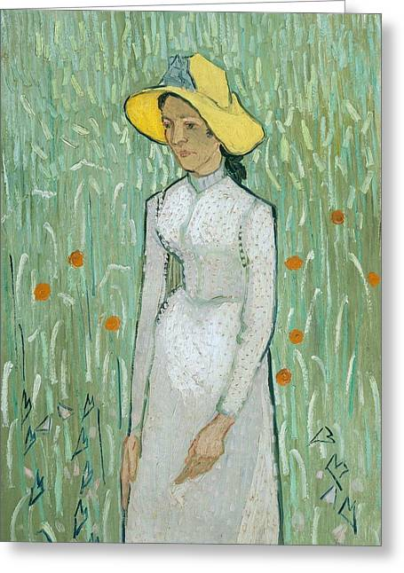 Girl In Dress Greeting Cards - Girl in White Greeting Card by Vincent van Gogh