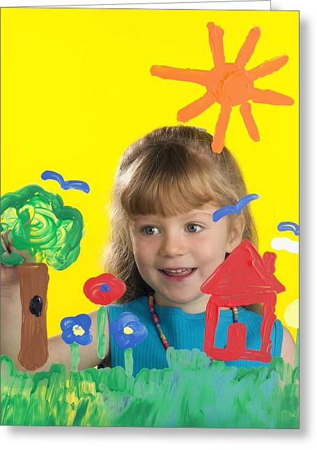 Creative People Greeting Cards - Girl Painting On Glass Greeting Card by Ron Nickel