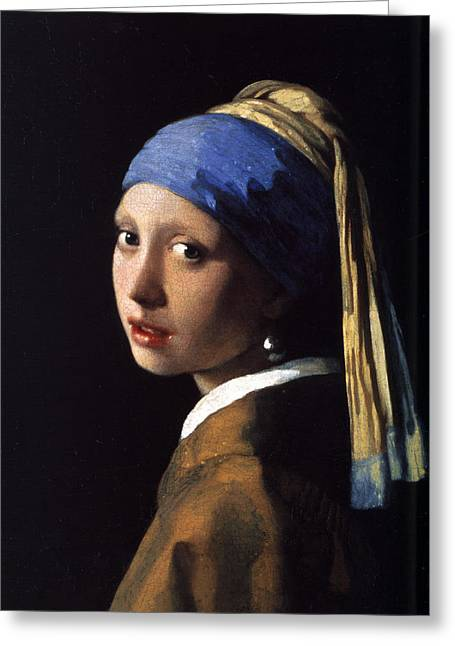 Girl With A Pearl Earring Greeting Cards - Girl with a Pearl Earring Greeting Card by Gift Factory