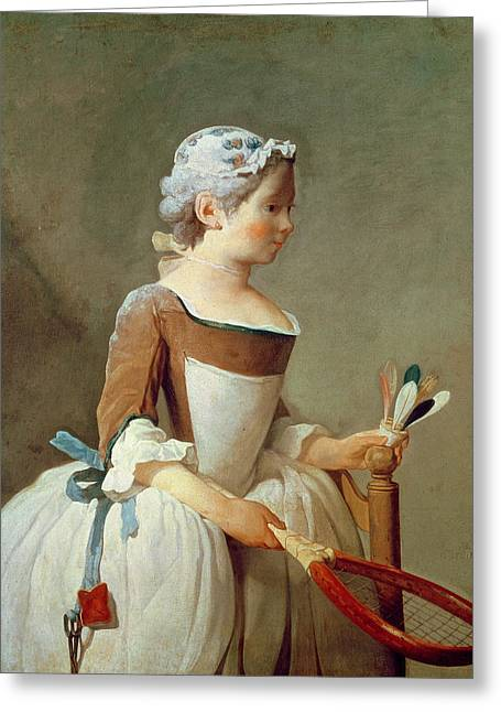 Rosy Greeting Cards - Girl with Racket and Shuttlecock Greeting Card by Jean-Baptiste Simeon Chardin