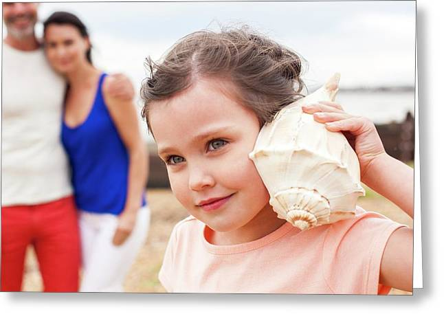 Girl With Seashell Greeting Card by Ian Hooton
