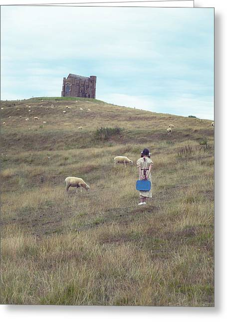Anonymous Greeting Cards - Girl With Sheeps Greeting Card by Joana Kruse