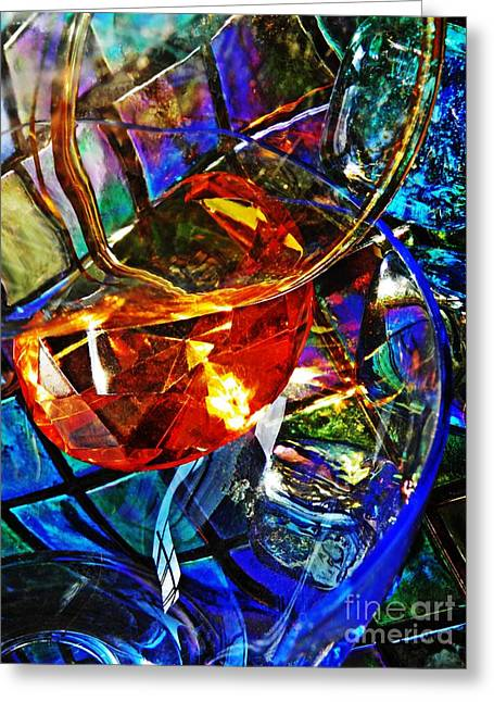 Medical Greeting Cards - Glass Abstract 691 Greeting Card by Sarah Loft