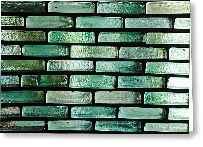 Blue Brick Greeting Cards - Glass bricks Greeting Card by Tom Gowanlock
