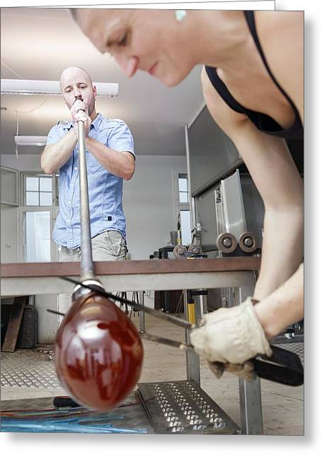Glassblowers At Work Greeting Card by Thomas Fredberg