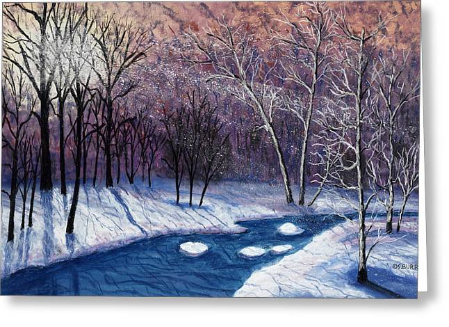 Sun Rays Pastels Greeting Cards - Glistening Branches Greeting Card by George Burr