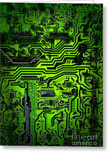 Motherboard Greeting Cards - Glowing Green Circuit Board Greeting Card by Amy Cicconi